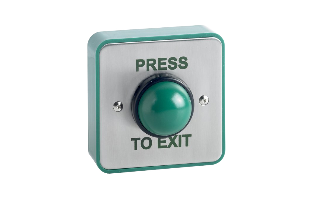 Stainless steel green dome push button.